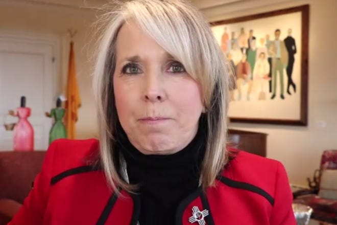 New Mexico Gov. Michelle Lujan Grisham leads a video news conference on Friday, Nov. 13, 2020.