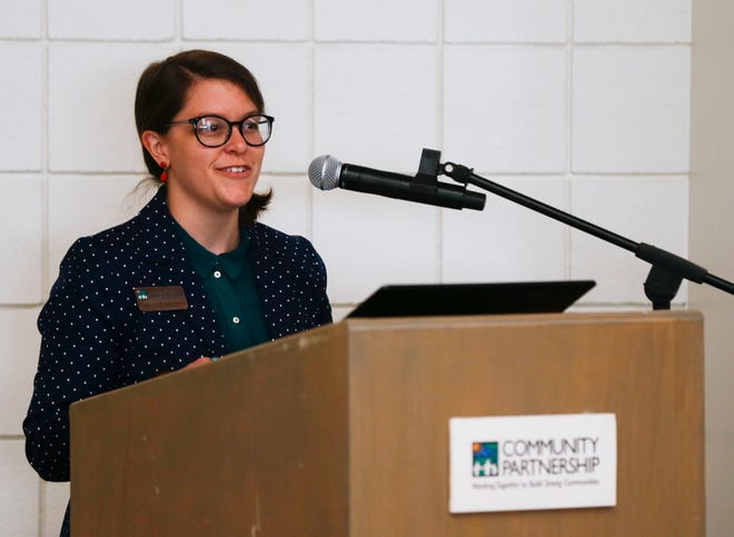 Amanda Stadler with Community Partnership of the Ozarks introduces speakers at a press conference about homelessness and cold weather shelters at the O'Reilly Center for Hope on Friday, Nov. 13, 2020.