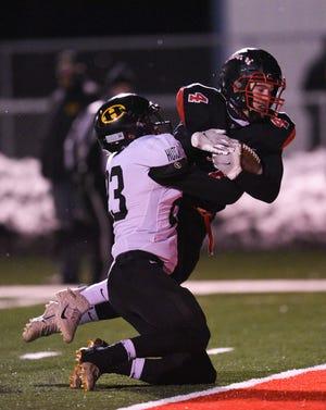 ROCORI senior Brady Linn scores a touchdown against Hutchinson Thursday, Nov. 12, 2020, at ROCORI High School.