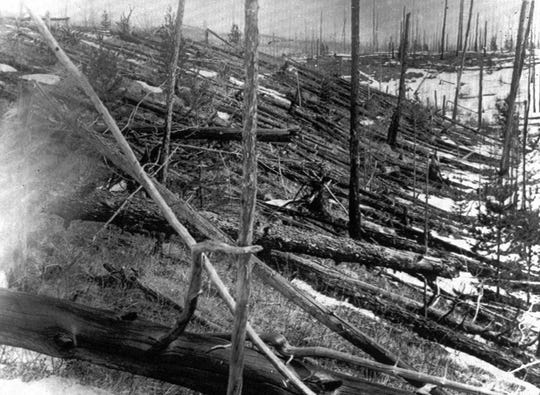 Even in this photo taken 45 years later, the damage in the Siberian countryside was clear from a meteorite that struck near Tunguska, Russia, in 1908. The explosion is estimated to have been about 10 megatons and leveled some 80 million trees for miles near the impact site.