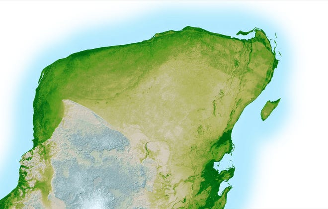 In the upper left portion of the Yucatan Peninsula, seen in this high resolution topographic map created with data collected by NASA, a faint arc of dark green is visible indicating the remnants of the Chicxulub impact crater. The crater was caused by a cataclysmic asteroid impact which, scientist theorize, may have caused the Cretaceous-Paleogene Extinction of most life on Earth, including the dinosaurs, 65 million years ago.