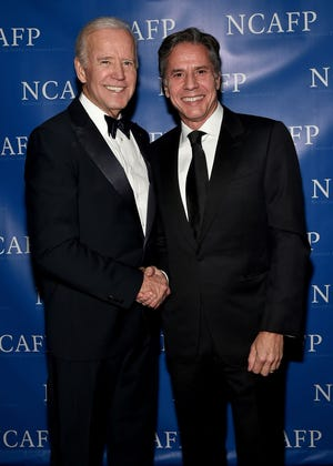 47th Vice President of the United States Joe Biden and Former Deputy Secretary of State Antony Blinken attend the National Committee On American Foreign Policy 2017 Gala Awards Dinner on October 30, 2017 in New York City.