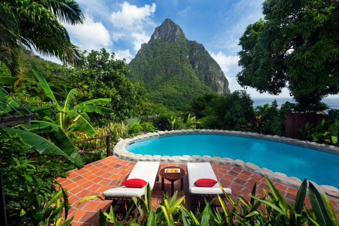 Saint Lucia: With cinematic vistas of the mighty Piton Peaks and the Caribbean Sea, Stonefield Villa Resort packs a big punch in a dozen 1-bedroom villas, all with private pools.