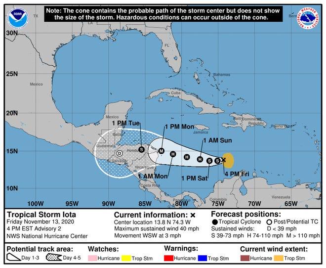 The forecast track of Tropical Storm Iota.