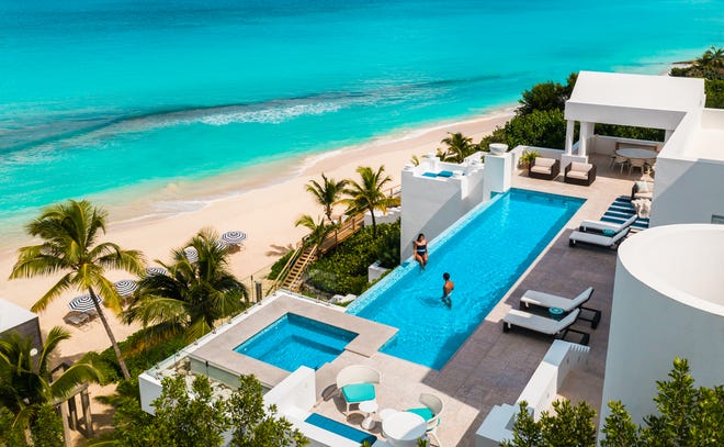 Anguilla: The super-swanky Sea Villa, one of the Long Bay Villas, features an infinity pool anda  staircase leading to secluded Long Bay Beach.