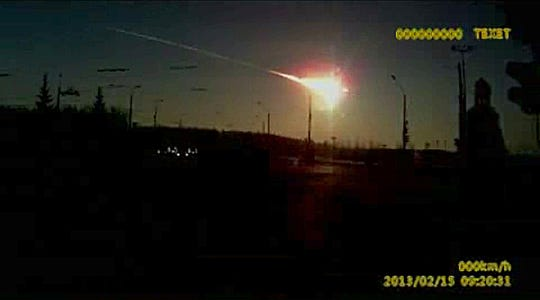A dashboard camera caught this meteor streaking through the sky over Chelyabinsk, about 930 miles east of Moscow, on Feb. 15, 2013. With a blinding flash and a booming shock wave, the meteor blazed across the western Siberian sky and exploded with the force of 20 atomic bombs, injuring more than 1,000 people as it blasted out windows and spread panic in a city of 1 million.