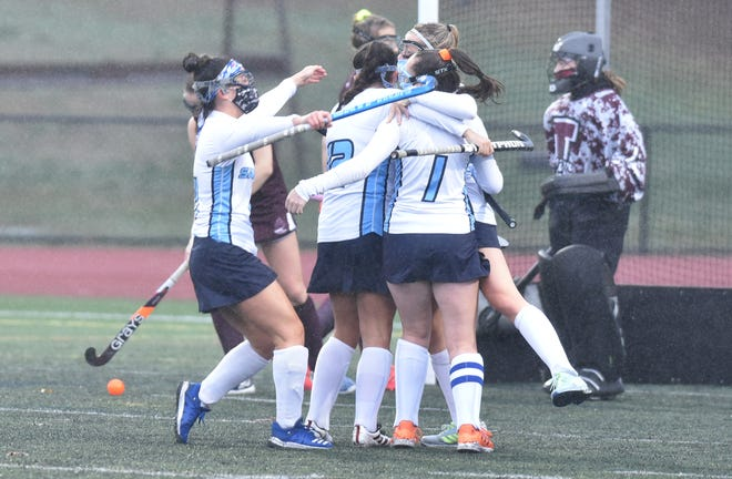 Sandwich players celebrate the game's first goal, scored by Macey White (1). The Blue Knights went on to record a 2-0 win over Falmouth and capture the inaugural Cape & Islands League Atlantic Tournament championship.