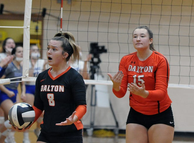 Dalton players Landree Siders and Tess Denning did not agree with the call on the final point in the second set.