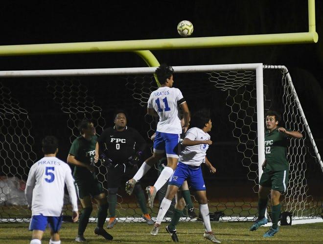 Matanzas' Tristan Alvarez sends a header at the goal last year at FPC.