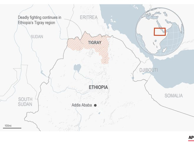 Ethiopia's defiant Tigray regional government said Saturday it fired rockets at two airports in the neighboring Amhara region as a deadly conflict threatens to spread into other parts of Africa's second-most populous country.