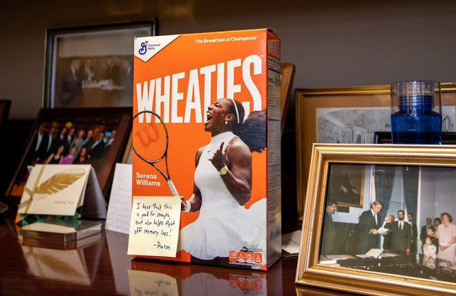 """A box of Wheaties with a note from House budget chief Aaron Michlewitz was displayed on a shelf in Senate budget chairman Michael Rodrigues' office this week, a callback to a comment Rodrigues made in September about getting a state budget through both branches and to Gov. Charlie Baker's desk in a span of weeks rather than the usual months: """"I'll have to make sure I eat my Wheaties."""""""