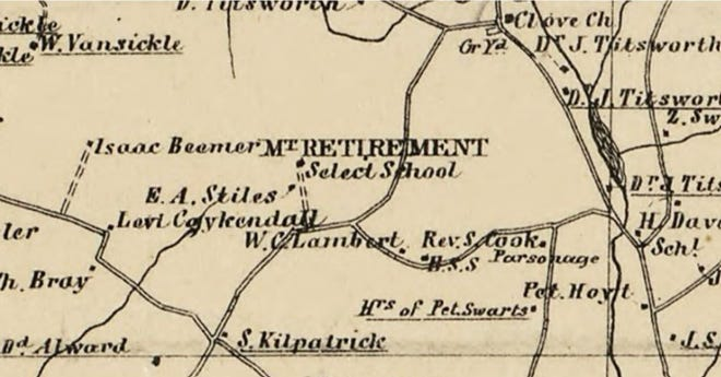 This is a portion of the area of Wantage Township, depicted on the 1860 wall map of Sussex County. It shows the Mount Retirement School situated west of Sherman Ridge Road. Note that the residence of E. A. Stiles, the headmaster of the school, was located in close proximity of the school.