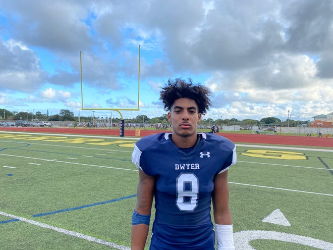 Dwyer quarterback Tre'Von Taylor, who transferred from Palm Beach Lakes for his senior year, faced his former team and put up five touchdowns in the Panthers' 43-0 win Saturday.