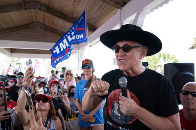 Roger Stone speaks to Trump supporters Saturday during a Stop the Steal rally in Delray Beach. Stone said the CIA changed vote tallies to help Democrat President-elect Joe Biden.