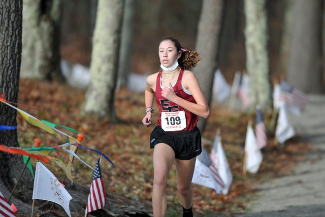 East Greenwich's Reese Fahys made her move in the final mile and left the pack in the dust as the sophomore won the 2020 RIIL Girls Cross Country title Saturday at Ponaganset High School.