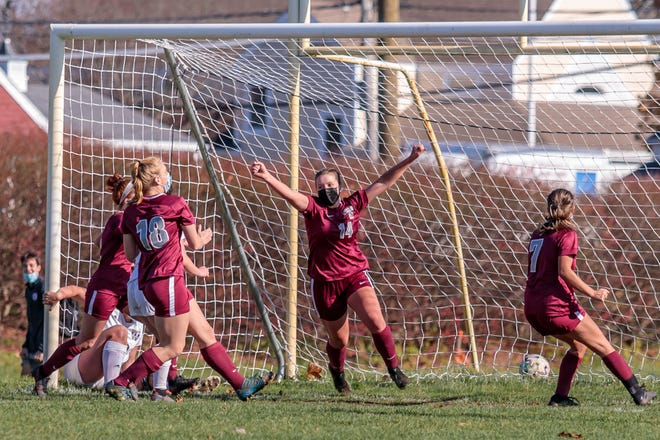 Lily Shields celebrates after scoring the game-winning goal in a 3-2 victory over Archbishop Williams in the Central Catholic League quarterfinals on Saturday.