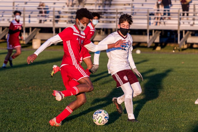 Rui Tavares, shown here earlier in the season, scored the first goal for New Bedford in a 3-2 victory over Durfee in the Southeast Conference semifinals on Saturday.