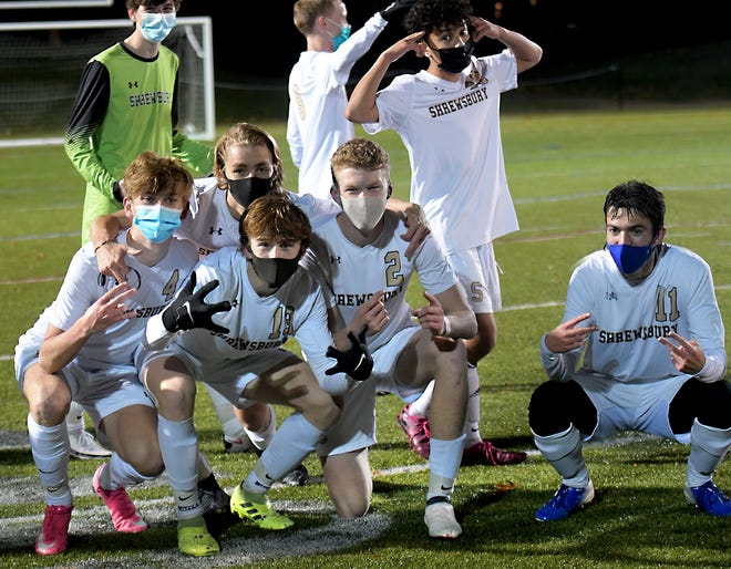 Shrewsbury players celebrate their 4-1 victory over Leominster in the POD 8 Championship game.
