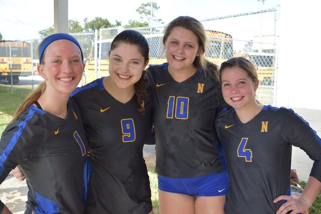 Newberry High volleyball team's seniors from left: Lily Haugh, Katie Oxer, Grace Oelrich and Sarah Miller
