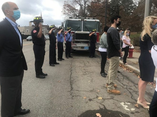 Fire engines were part of the 2020 Veterans Day observances. Although the numbers attending had to be restricted because of COVID-19 concerns, the ceremony was recorded by Wellesley Public Media and can be seen at https://www.youtube.com/watch?v=iQVEVblXfVM&t=207s