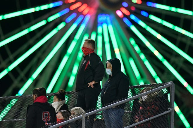 Ocean City fans watch a game at Carey Field last November. The venue will be the place to be for high school football fans when the Battle at the Beach showcase comes to town for a three-day, nine-game event in late August.