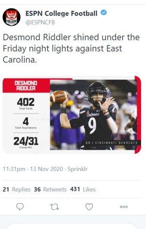 Screenshot of ESPNCFB's deleted Desmond Riddler tweet