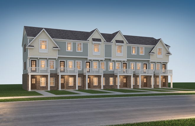This artist's rendering shows the style of three-story, two-bedroom condominiums planned for a complex of 54 units in Hazel Park, to be priced in the low $200,000s and to each have a one-car attached garage. It's to be Hazel Park's largest housing development in decades. (Credit: Robertson Homes)