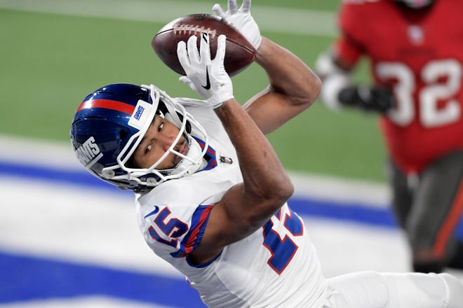 New York Giants wide receiver Golden Tate catches a touchdown pass during the second half against the Tampa Bay Buccaneers in November in East Rutherford, N.J.