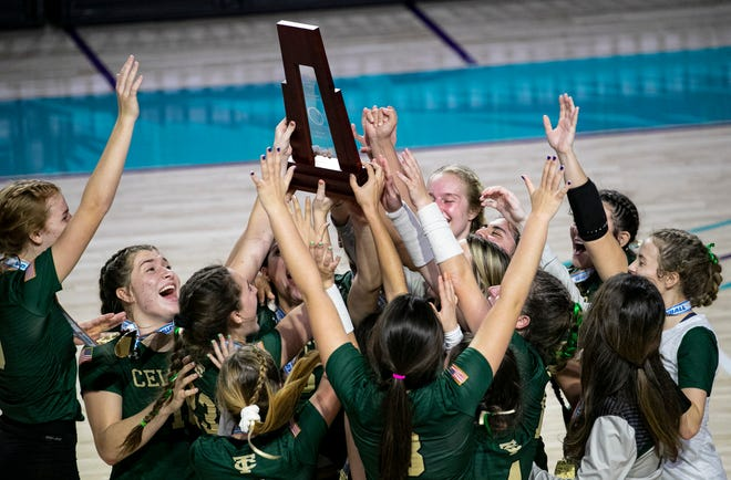 Trinity Catholic celebrates their win over Westminster in the FHSAA State Volleyball Championship game on Saturday.