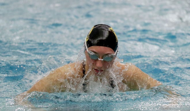 Franklin sophomore Ava Goodno swims in the 200 medley relay Saturday at the WIAA state meet at Waukesha South.