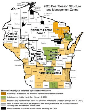 Wisconsin deer hunting season structures and management zones are highlighted on this map.