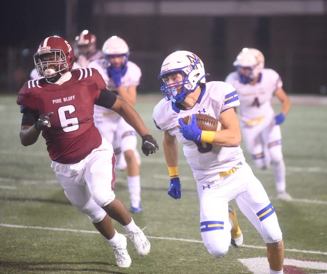 Mountain Home's Logen Walker returned this kickoff all the way to the 11-yard line to set up the game-winning touchdown in the Bombers' 24-20 victory over Pine Bluff on Friday night.