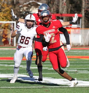 Three-star defensive back Jayden Bellamy, pictured returning an interception for a touchdown for Oradell (N.J.) Bergen Catholic, verbally committed to Notre Dame on Friday.