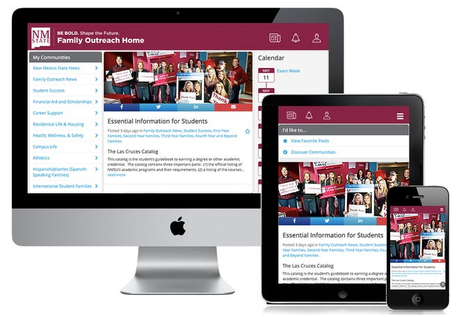 In May, New Mexico State University's Undergraduate Admissions and Orientation launched the Family Outreach Home portal, https://nmsu.campusesp.com. The site strives to connect and engage with students' families and support systems.