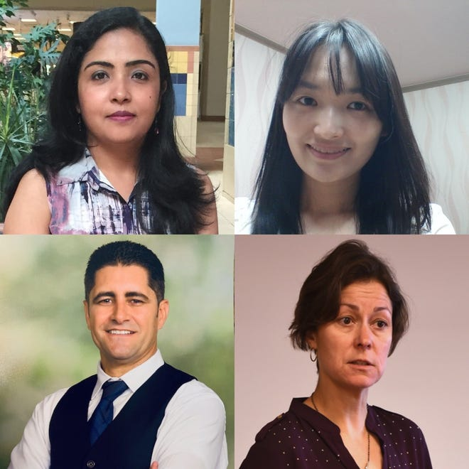 Top row, from left, Shammi Gandhi and Ji-Yeon Seok. Bottom row, from left, Ali Mchiri and Carol Flinchbaugh. Flinchbaugh's second-year doctoral students at New Mexico State University conducted a recent study examining the value of empathetic leadership.