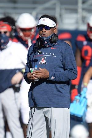Nov 14, 2020; Tucson, Arizona, USA; Arizona Wildcats head coach Kevin Sumlin looks on against the USC Trojans during the first half at Arizona Stadium. Mandatory Credit: Joe Camporeale-USA TODAY Sports