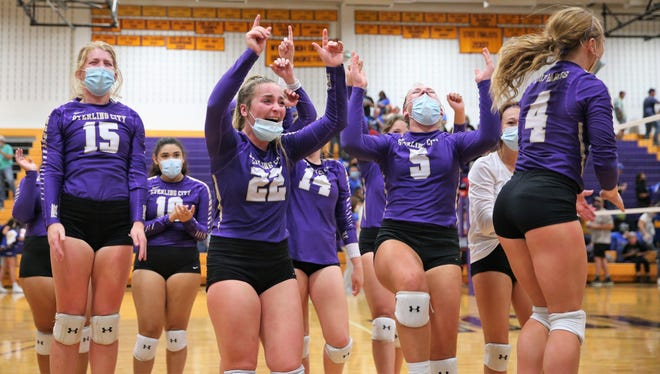 The Sterling City High School volleyball team celebrates after beating Veribest 25-23, 13-25, 25-17, 25-19 in a Class 1A regional final at the Abilene Wylie gym on Saturday, Nov. 14, 2020.