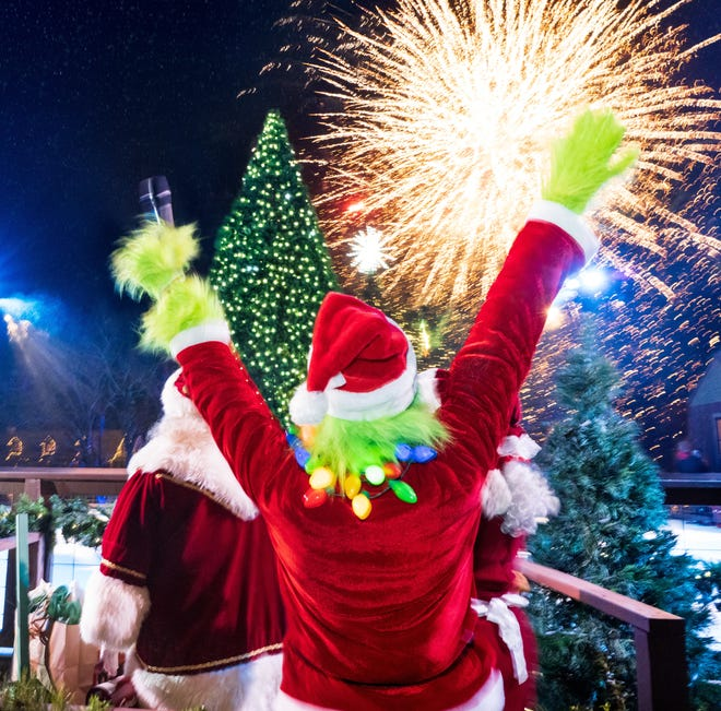 The Grinch comes out for the Christmas tree lighting and fireworks at Big Cedar Lodge.