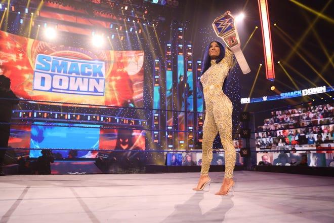 "As Sasha Banks, Mercedes Varnado is the women's champion of ""WWE Smackdown."""