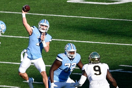 North Carolina QB Sam Howell threw for 550 yards and six touchdowns (and added another on the ground) in the Tar Heels' comeback win over Wake Forest.