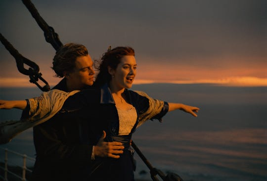 """Kate Winslet says her famous """"I'm flying"""" scene with Leonardo DiCaprio in 1997's """"Titanic"""" was especially difficult to shoot."""