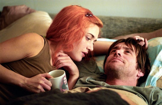 """Kate Winslet, left, and Jim Carrey try to forget each other in 2004's """"Eternal Sunshine of the Spotless Mind."""""""