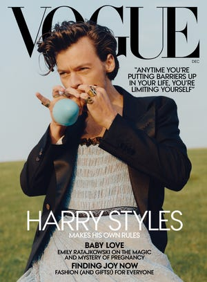 Harry Styles made history as the first man to grace to cover of American Vogue solo with December's issue.
