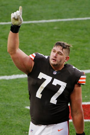 Cleveland Browns offensive guard Wyatt Teller celebrates after the Browns defeated the Houston Texans 10-7 after an NFL football game, Sunday, Nov. 15, 2020, in Cleveland. (AP Photo/Ron Schwane)