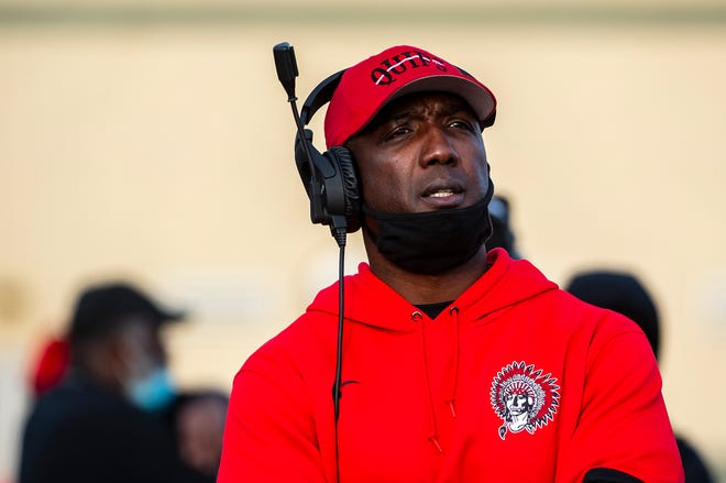 Aliquippa head coach Mike Warfield looks on during the Quips' loss in the WPIAL Class 4A championship to Thomas Jefferson in overtime on Nov. 14, 2020, at North Allegheny High School.