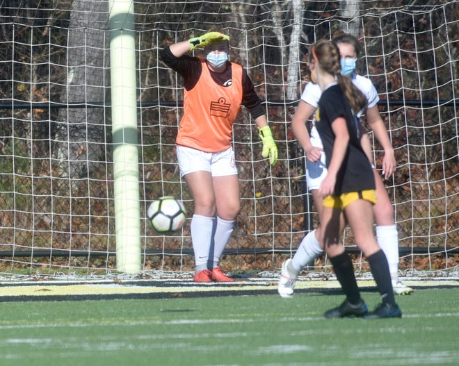Barnstable goalie Morgan Dardia follows the ball as Nauset hosted Barnstable in the Cape and Islands League Atlantic Division Championship on Saturday.