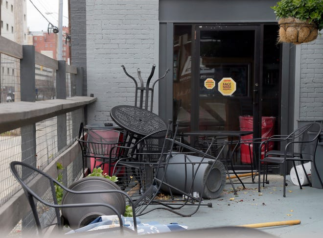 The forecast calls for wind gusts of up to 60 mph Thursday night into Friday morning. When Columbus experienced gusts up to 62 mph in November, the wind tossed around furniture on this patio on E. Long Street in Columbus.