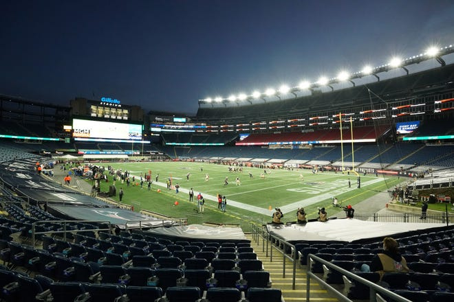 The New England Patriots take on the San Francisco 49ers in the second half to an empty Gillette Stadium due to COVID-19 restrictions on Oct. 25, 2020.