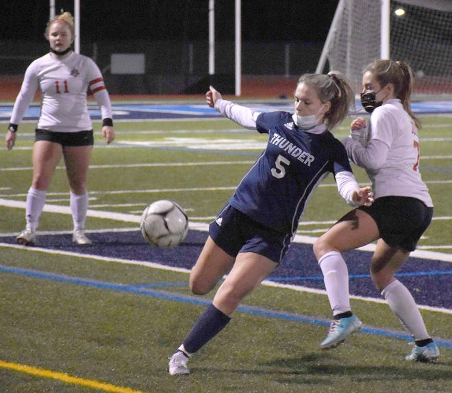 Krista Panko (5) of Central Valley Academy prepares to boot the ball up the field and keep it from going out of bounds during the second half of Friday's Tri-Valley League Pioneer Division soccer championship match against Vernon-Verona-Sherrill.