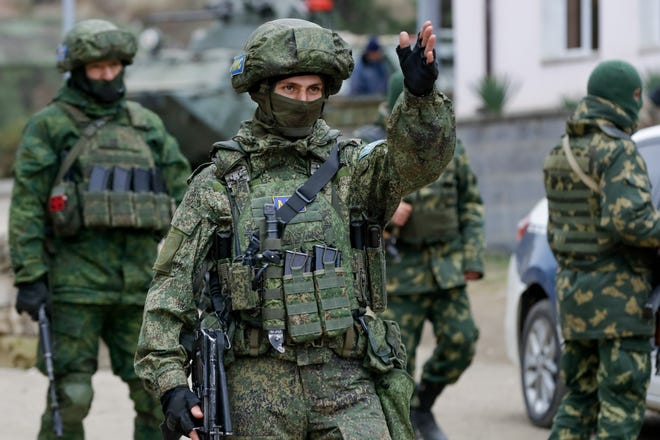 Russian peacekeepers patrol an aria in Stepanakert, the separatist region of Nagorno-Karabakh, on Sunday.